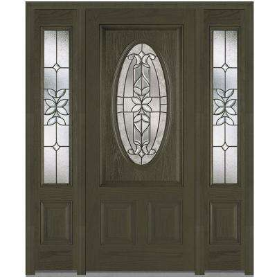 68.5 in. x 81.75 in. Cadence Decorative Glass 3/4 Oval Finished Fiberglass Oak Exterior Door with Sidelites