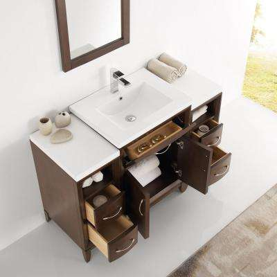 Cambridge 48 in. Vanity in Antique Coffee with Porcelain Vanity Top in White with White Ceramic Basin and Mirror