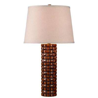 Interlace 30 in. Honey Rattan Table Lamp