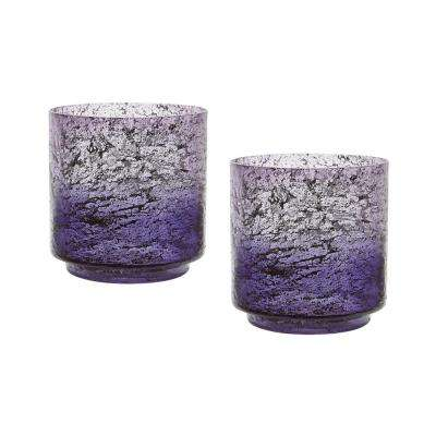 Ombre 6 in. Plum Glass Hurricane Candle Holders (Set of 2)