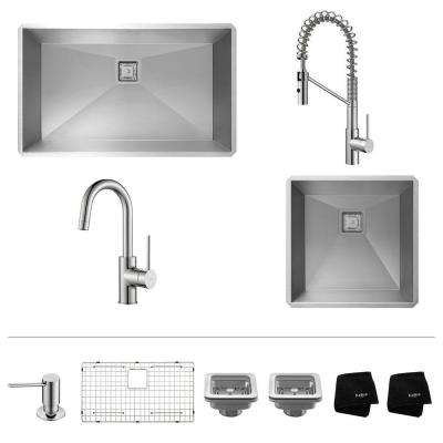 Pax All-in-One 2 Undermount Stainless Steel Sinks with Oletto Pull Down and Bar Kitchen Faucets in Chrome