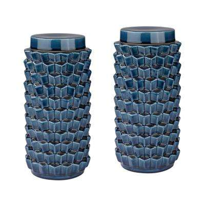 12 in. Earthenware Accordion Crackled Decorative Jars in Blue (Set of 2)