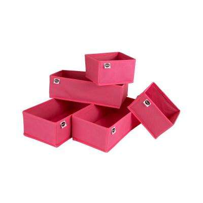 Compartment Polyester 5-Drawer organizer in Pink