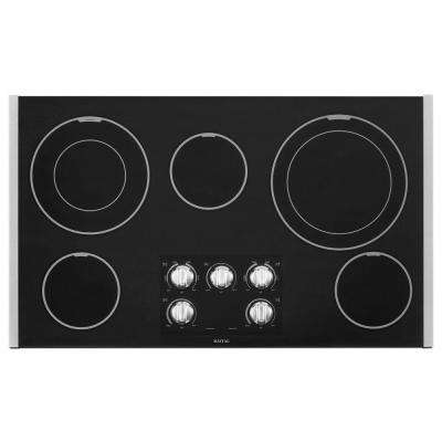 36 in. Ceramic Glass Electric Cooktop in Stainless Steel with 5 Elements including Dual Choice Elements