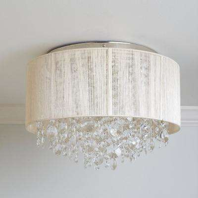 Serena String Beaded 3-Light Polished Nickel Flush Mount Light