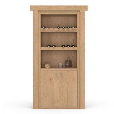 36 in. x 80 in. Flush Mount Assembled Alder Unfinished Right-Hand Outswing Wine Rack Door