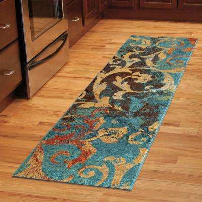 Watercolor Scroll Multi Bright Colors 2 ft. x 8 ft. Indoor Runner Rug