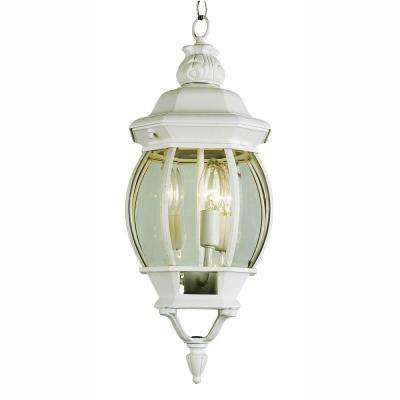 3-Light Outdoor Hanging White Lantern with Clear Glass