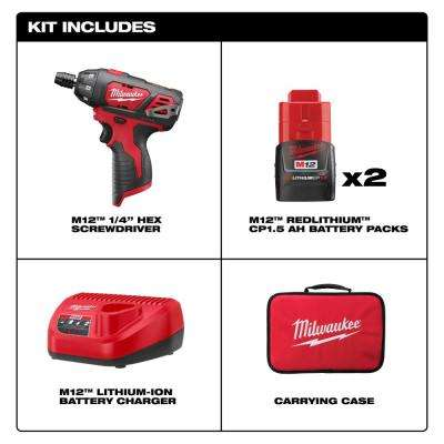 M12 12-Volt Lithium-Ion Cordless 1/4 in. Hex Screwdriver Kit with Two 1.5Ah Batteries, Charger and Tool Bag