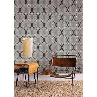 56 sq. ft. Circulate Gray Retro Orb Wallpaper