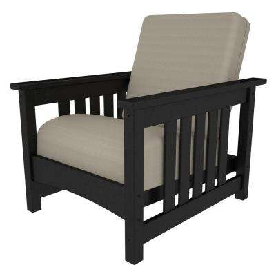 POLYWOOD Mission Black Patio Chair with Bird's Eye Cushions