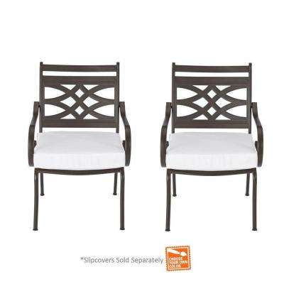 Middletown Patio Stationary Dining Chairs with Cushion Insert (2-Pack) (Slipcovers Sold Separately)