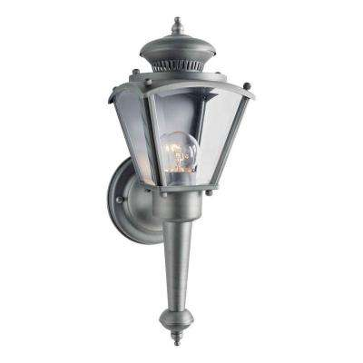 1-Light Outdoor Olde Nickel Wall Lantern with Clear Beveled Glass