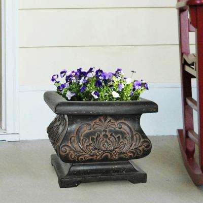 18 in. Square Aged Charcoal Cast Stone Bombe Planter