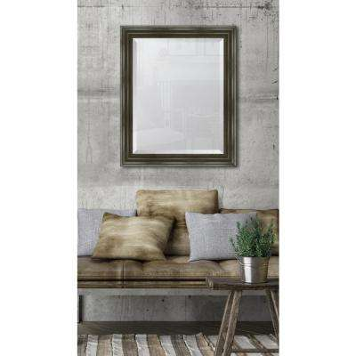 28 in. x 34 in. Framed 3 in. Grey English Pine Resin Frame Mirror
