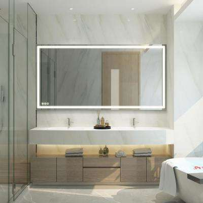 72 in. x 36 in. LED Lighted Single Frameless Bathroom Mirror