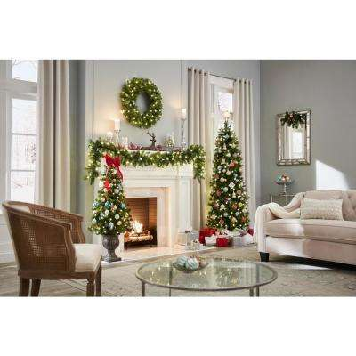 4.5 ft. Pre-Lit LED Wesley Spruce Potted Artificial Christmas Tree with 263 Tips and 150 Warm White Lights