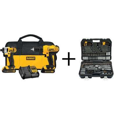 20-Volt MAX Lithium-Ion Cordless Combo Kit (2-Piece) with Mechanics Tool Set (200-Piece)