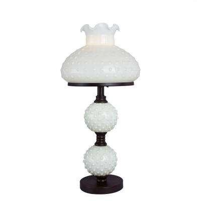 22.25 in. Bronze Metal Accent Lamp with White Hobnail Balls and Shade