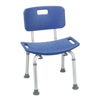 Bathroom Safety Shower Tub Bench Chair with Back in Blue