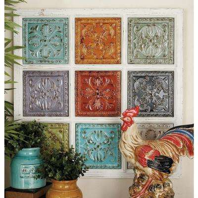 31 in. x 31 in. Square Wall Panel in Distressed Finish with Embossed Filigree