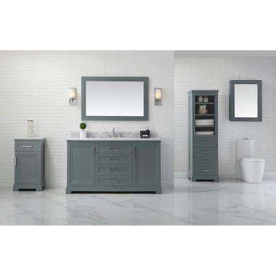 Lynn 60 in. W x 22 in. D Vanity in School House Slate with Marble Vanity Top in White with White Basin