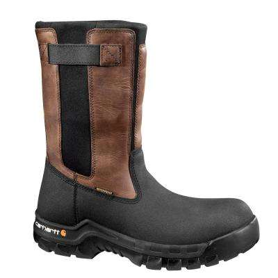 Rugged Flex Men's Black PU Coated Leather/Black Neoprene with Brown Trim Waterproof Pull-On Work Boot