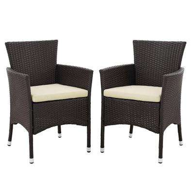 Brown Rattan Outdoor Dining Chair With White Cushions (Set Of 2)