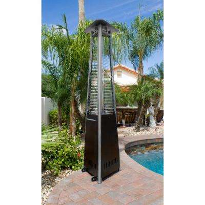 41,000 BTU Hammered Bronze Glass Tube Gas Patio Heater