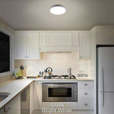 Low Profile 7 in. White Round 4000K Bright White LED Flush Mount Ceiling Light Fixture 810 Lumens Modern Smooth Cover