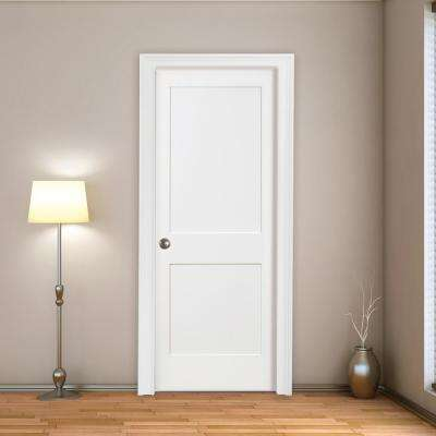 30 in. x 80 in. 2-Panel Square Primed Shaker Solid Core Wood Single Prehung Interior Door Right Hand with Bronze Hinges