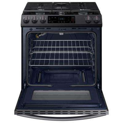 30 in. 6.0 cu. ft. Slide-In Gas Range with Self-Cleaning Oven in Black Stainless Steel