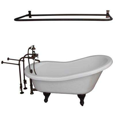 5.6 ft. Acrylic Ball and Claw Feet Slipper Tub in White with Oil Rubbed Bronze Feet