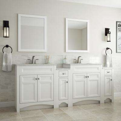 Modular 30.5 in. W Bath Vanity in White with Solid Surface Technology Vanity Top in Cappuccino with White Sink