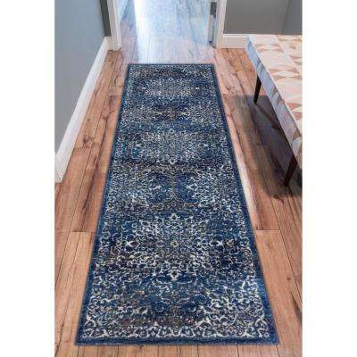 New Age Sultana Blue 8 ft. x 10 ft. Traditional Medallion Vintage Distressed Area Rug