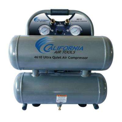 4.6 Gal. 1 HP Ultra Quiet and Oil-Free Steel Twin Tank Air Compressor