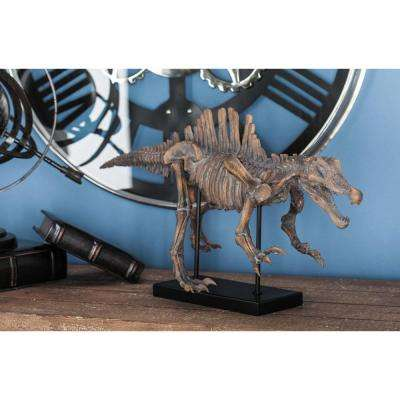 14 in. Dinosour Decorative Sculpture in Brown and Black