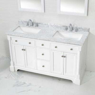 Claudia 60 in. W x 22 in. D Bath Vanity in Pure White with Marble Vanity Top in Carrara with White Basin