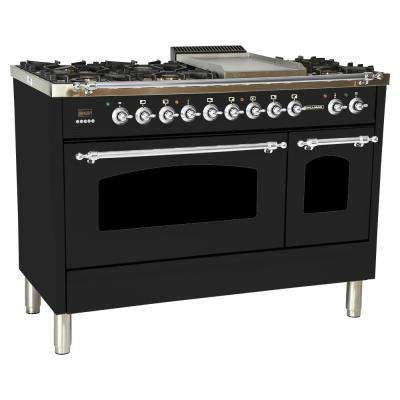 48 in. 5.0 cu. ft. Double Oven Dual Fuel Italian Range True Convection, 7 Burners, Griddle,Chrome Trim in Glossy Black