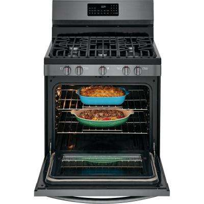 5.0 cu. ft. Gas Range with True Convection Self-Cleaning Oven in Black Stainless Steel with Air Fry
