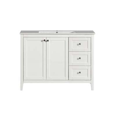 Cannes 48 in. Single, 2 Doors, 3 Drawers, Bathroom Vanity in White with White Countertop with White Basin