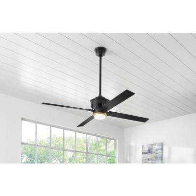 Lincolnshire60 in. LED Matte Black Ceiling Fan with Light