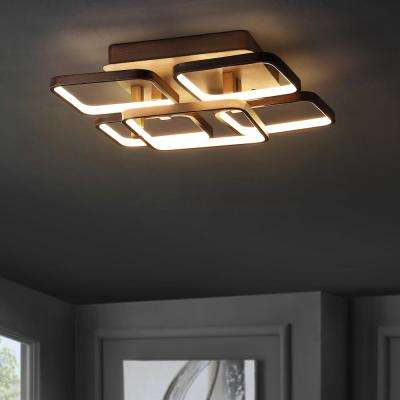 Sebastian 17.5 in. Coffee Integrated LED Metal Flush Mount Ceiling Light