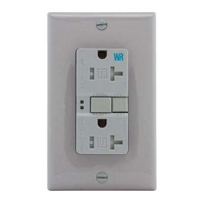 GFCI Self-Test 20A -125V Tamper and Weather Resistant Duplex Receptacle with Standard Size Wallplate, Gray