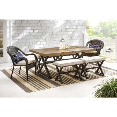 Mix and Match 72 in. Rectangular Metal Outdoor Dining Table with Farmhouse Trestle Base and Tile Tabletop