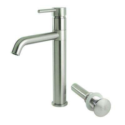Single Hole Single-Handle Swivel Arm Euro Vessel Bathroom Faucet with Drain in Brushed Nickel