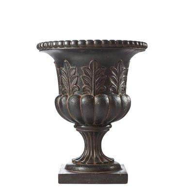 16 in. x 20 in. Fiberglass Acanthus Urn in Aged Charcoal