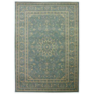 Queen Collection Oriental Medallion Teal and Beige 7 ft. 10 in. x 9 ft. 10 in. Area Rug