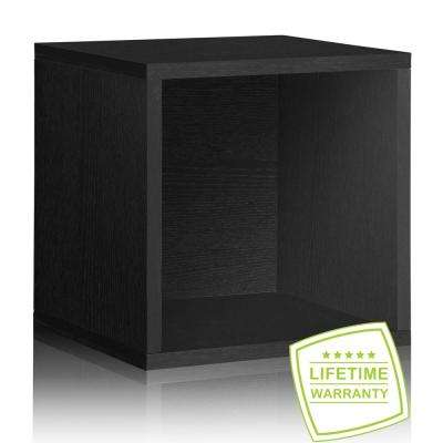 Blox System 14.8 in. x 14.8 in. Stackable Large Storage Cube Organizer in Black Wood Grain