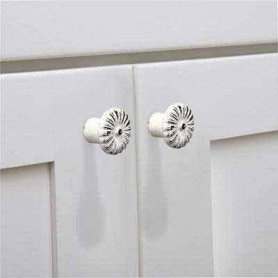 Beaded Floral 1-1/4 in. (30 mm) Distressed White Patina Cabinet Knob